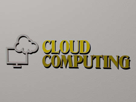 cloud computing icon and text on the wall - 3D illustration for background and blue
