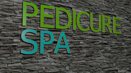 PEDICURE SPA text on textured wall - 3D illustration for beauty and care