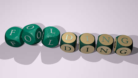 folding text by dancing dice letters - 3D illustration for background and white Banco de Imagens