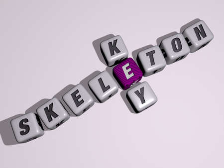 skeleton key crossword by cubic dice letters - 3D illustration for background and human