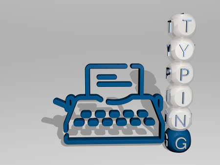 TYPING 3D icon beside the vertical text of individual letters - 3D illustration for laptop and computer 免版税图像