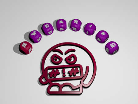 swearing icon surrounded by the text of individual letters - 3D illustration for angry and background