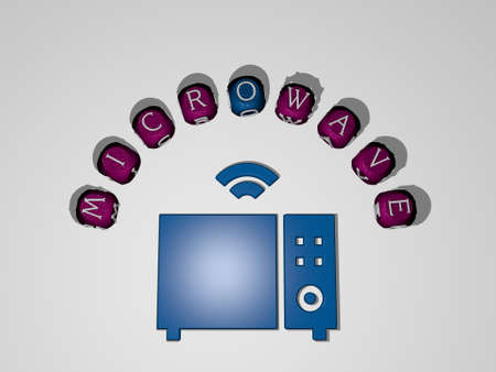 MICROWAVE icon surrounded by the text of individual letters - 3D illustration for oven and kitchen