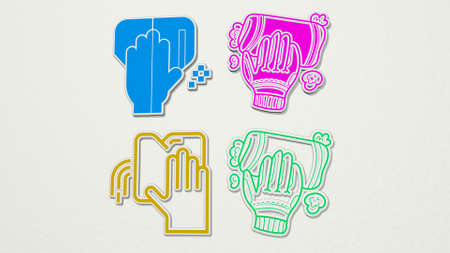 wiping colorful set of icons - 3D illustration for cleaning and woman Archivio Fotografico