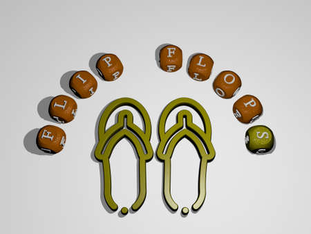 FLIP FLOPS icon surrounded by the text of individual letters - 3D illustration for background and beach 版權商用圖片