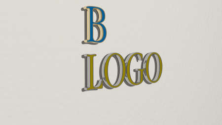 3D illustration of B LOGO graphics and text made by metallic dice letters for the related meanings of the concept and presentations for background and design