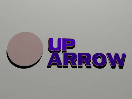 3D illustration of up arrow graphics and text made by metallic dice letters for the related meanings of the concept and presentations for background and icon