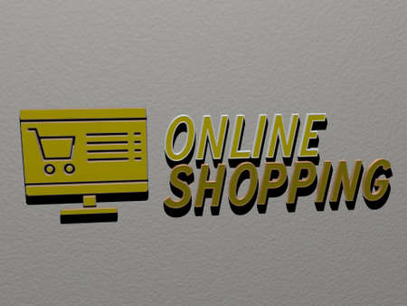 3D representation of ONLINE SHOPPING with icon on the wall and text arranged by metallic cubic letters on a mirror floor for concept meaning and slideshow presentation for illustration and business