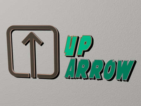 3D representation of UP ARROW with icon on the wall and text arranged by metallic cubic letters on a mirror floor for concept meaning and slideshow presentation for illustration and background