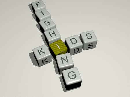 crosswords of kids fishing arranged by cubic letters on a mirror floor, concept meaning and presentation for illustration and children 免版税图像
