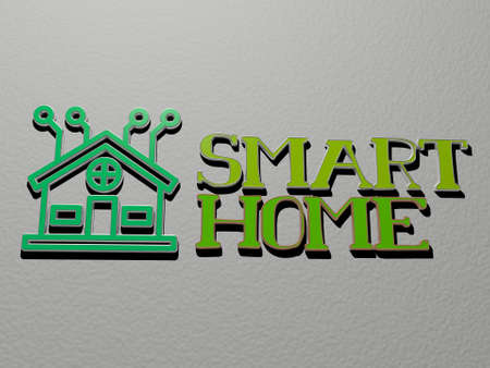 3D illustration of smart home graphics and text made by metallic dice letters for the related meanings of the concept and presentations for phone and business