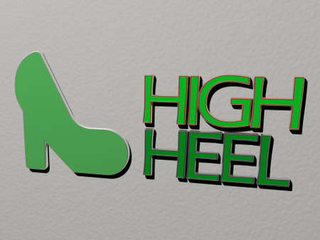 3D representation of high heel with icon on the wall and text arranged by metallic cubic letters on a mirror floor for concept meaning and slideshow presentation for background and blue Stock fotó