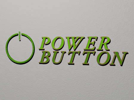 3D representation of POWER BUTTON with icon on the wall and text arranged by metallic cubic letters on a mirror floor for concept meaning and slideshow presentation for illustration and background 스톡 콘텐츠