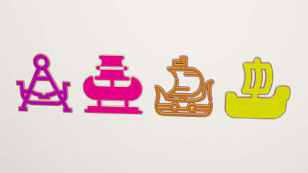 viking ship on the wall 3D illustration
