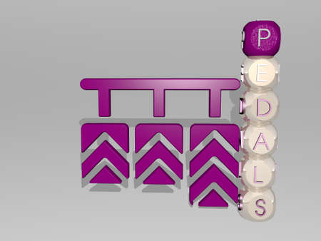 3D representation of pedals with icon on the wall and text arranged by metallic cubic letters on a mirror floor for concept meaning and slideshow presentation for bicycle and bike