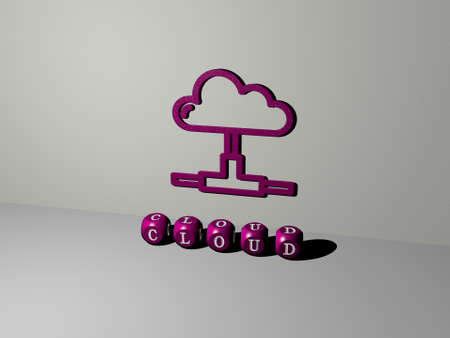 3D graphical image of cloud vertically along with text built by metallic cubic letters from the top perspective, excellent for the concept presentation and slideshows for background and blue Imagens