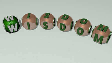 WISDOM combined by dice letters and color crossing for the related meanings of the concept for illustration and background Imagens