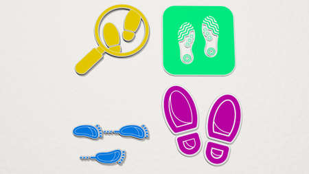FOOTPRINTS made by 3D illustration.