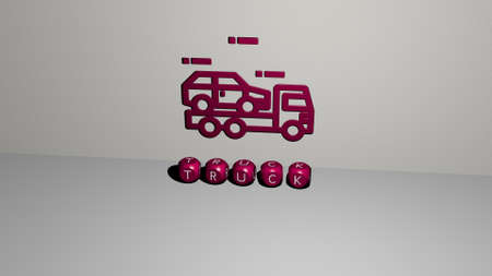 3D illustration of truck graphics and text.