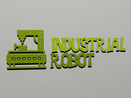 3D illustration of INDUSTRIAL ROBOT graphics and text made by metallic dice letters for the related meanings of the concept and presentations for background and industry