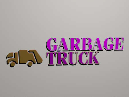 3D graphical image of GARBAGE TRUCK vertically along with text built by metallic cubic letters from the top perspective, excellent for the concept presentation and slideshows for background and