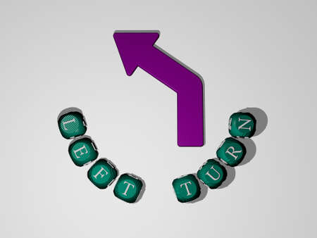 3D illustration of LEFT TURN graphics and text around the icon made by metallic dice letters for the related meanings of the concept and presentations for background and right Imagens