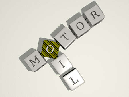 combination of MOTOR OIL built by cubic letters from the top perspective, excellent for the concept presentation, 3D illustration