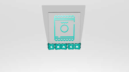 3D illustration of SNACK graphics and text made by metallic dice letters for the related meanings of the concept and presentations, 3D illustration