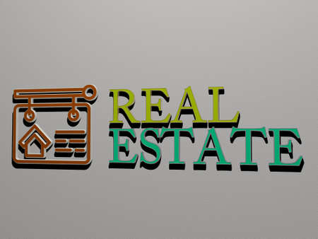 3D illustration of real estate graphics and text made by metallic dice letters for the related meanings of the concept and presentations, 3D illustration
