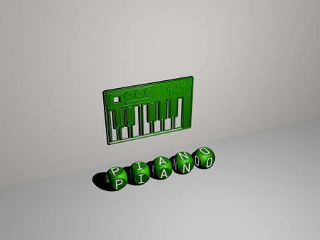 3D representation of piano with icon on the wall and text arranged by metallic cubic letters on a mirror floor for concept meaning and slideshow presentation, 3D illustration Standard-Bild