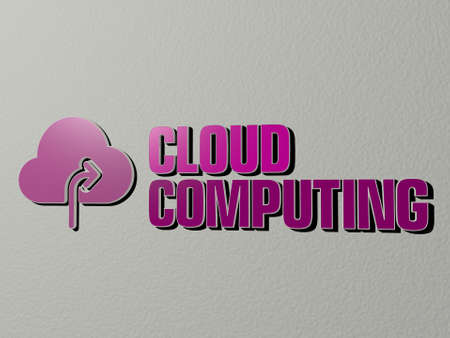 3D graphical image of cloud computing vertically along with text built by metallic cubic letters from the top perspective, excellent for the concept presentation and slideshows, 3D illustration