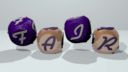 fair combined by dice letters and color crossing for the related meanings of the concept, 3D illustration