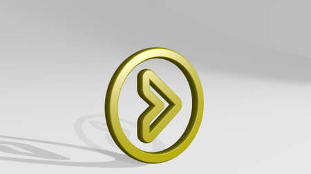 arrow button circle right stand with shadow 3D illustration of metallic sculpture over a white background with mild texture, 3D illustration Imagens