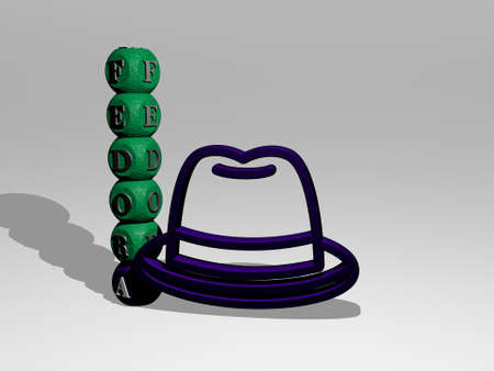 3D illustration of FEDORA graphics and text around the icon made by metallic dice letters for the related meanings of the concept and presentations, 3D illustration