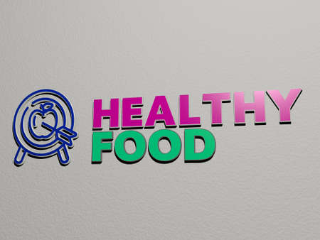3D representation of healthy food with icon on the wall and text arranged by metallic cubic letters on a mirror floor for concept meaning and slideshow presentation, 3D illustration
