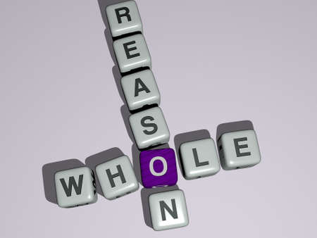 whole reason combined by dice letters and color crossing for the related meanings of the concept, 3D illustration