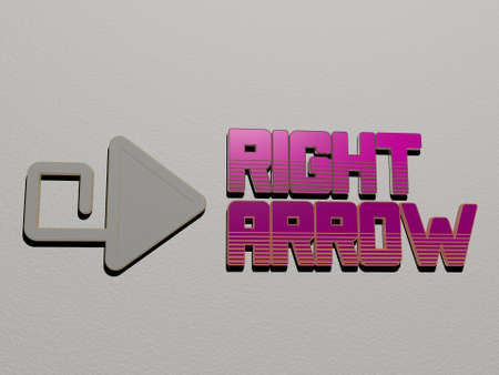 3D illustration of RIGHT ARROW graphics and text made by metallic dice letters for the related meanings of the concept and presentations, 3D illustration