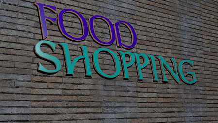 3D graphical image of FOOD SHOPPING vertically along with text built by metallic cubic letters from the top perspective, excellent for the concept presentation and slideshows, 3D illustration