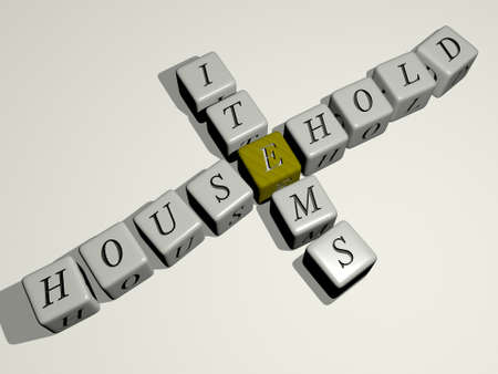 household items combined by dice letters and color crossing for the related meanings of the concept, 3D illustration 免版税图像