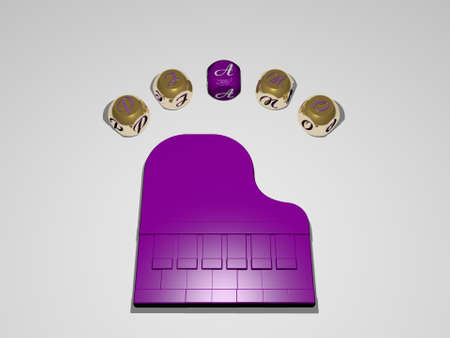 3D illustration of piano graphics and text around the icon made by metallic dice letters for the related meanings of the concept and presentations, 3D illustration Standard-Bild