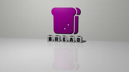 3D representation of BREAD with icon on the wall and text arranged by metallic cubic letters on a mirror floor for concept meaning and slideshow presentation, 3D illustration