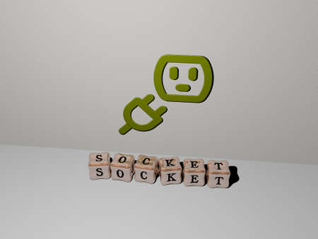 3D illustration of socket graphics and text made by metallic dice letters for the related meanings of the concept and presentations, 3D illustration 免版税图像