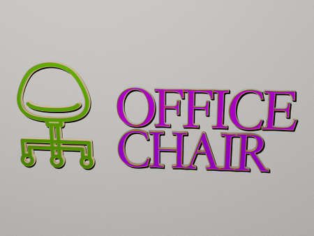 3D illustration of office chair graphics and text made by metallic dice letters for the related meanings of the concept and presentations, 3D illustration Stock fotó