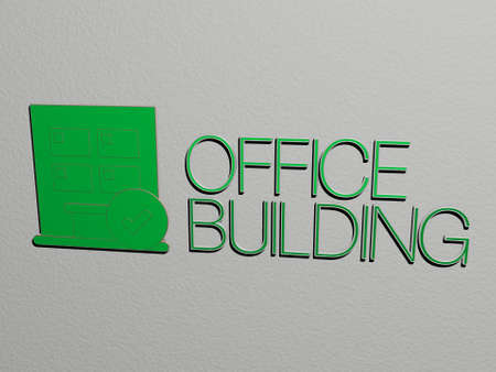 3D illustration of OFFICE BUILDING graphics and text made by metallic dice letters for the related meanings of the concept and presentations, 3D illustration