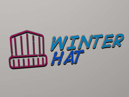 3D graphical image of WINTER HAT vertically along with text built by metallic cubic letters from the top perspective, excellent for the concept presentation and slideshows, 3D illustration