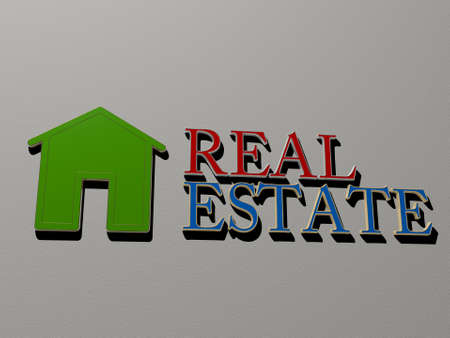 3D representation of REAL ESTATE with icon on the wall and text arranged by metallic cubic letters on a mirror floor for concept meaning and slideshow presentation, 3D illustration