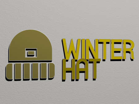 3D representation of winter hat with icon on the wall and text arranged by metallic cubic letters on a mirror floor for concept meaning and slideshow presentation, 3D illustration