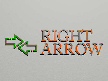 3D graphical image of right arrow vertically along with text built by metallic cubic letters from the top perspective, excellent for the concept presentation and slideshows, 3D illustration