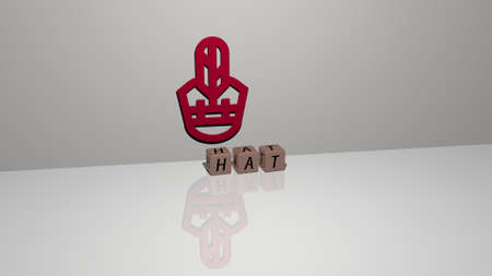 3D representation of hat with icon on the wall and text arranged by metallic cubic letters on a mirror floor for concept meaning and slideshow presentation, 3D illustration