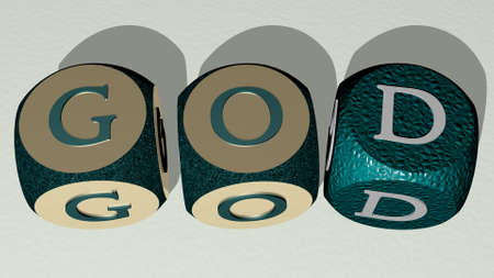 god combined by dice letters and color crossing for the related meanings of the concept, 3D illustration